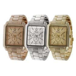Geneva Platinum Men's Chronograph-Style Link Watch with Tang Clasp
