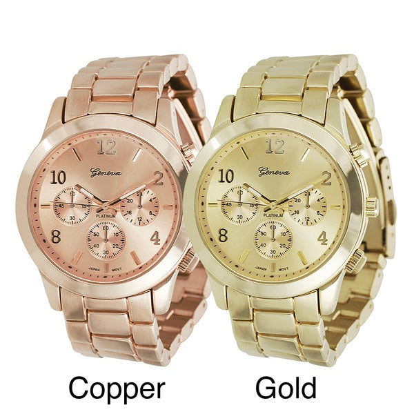 Geneva Platinum Men's Chronograph-Style Copper/Gold Link Watch