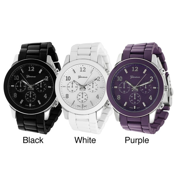 Geneva Platinum Men's Chronograph-Style Base Metal Link Watch