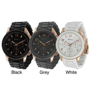 Geneva Platinum Men's Chronograph-Style Link Watch with Coppertone Hands