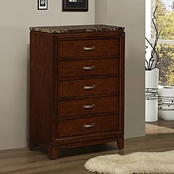 Amble Warm Cherry Finish Faux Marble 5-drawer Chest