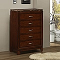 TRIBECCA HOME Amble Warm Cherry Finish Faux Marble 5-drawer Chest