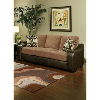 Furniture of America 'Ambrosio' Faux Leather Base Suede Upholstery Sofa
