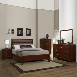 Amble Cherry Faux Marble Casual Queen-size 5-piece Bedroom Set