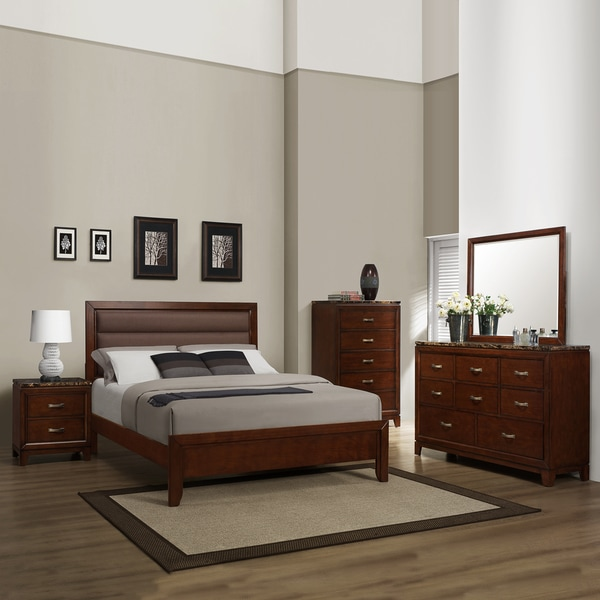 TRIBECCA HOME Amble Cherry Faux Marble Casual Queen-size 5-piece Bedroom Set