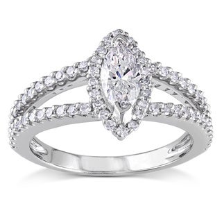 Miadora 14k White Gold 4/5ct TDW Diamond Engagement Halo Ring (G-H, I1-I2)