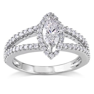 Miadora 14k White Gold 4/5ct TDW Marquise Diamond Ring (G-H, I1-I2)