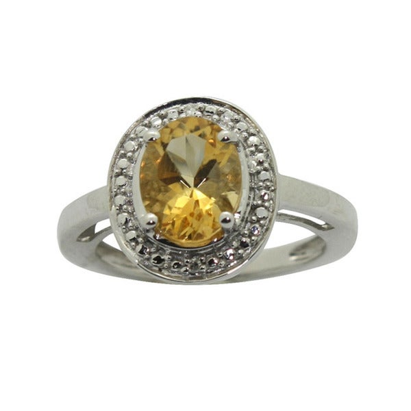 Gioelli Sterling Silver Citrine and Cubic Zirconia Ring
