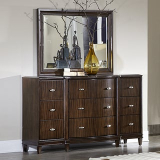 Cumbria Retro Modern Curved Front 9-drawer Dresser and Mirror