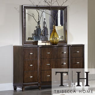 Tribecca Home Cumbria Retro Modern Curved Front 9-drawer Dresser and Mirror