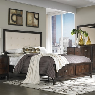 TRIBECCA HOME Cumbria White Bonded Leather 5-piece Queen-size Storage Bedroom Set