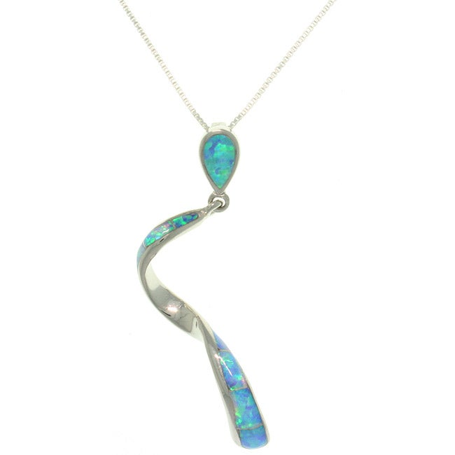 CGC Sterling Silver Created Opal Twist Necklace