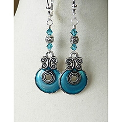 'Aryanna' Teal Enamel Earrings
