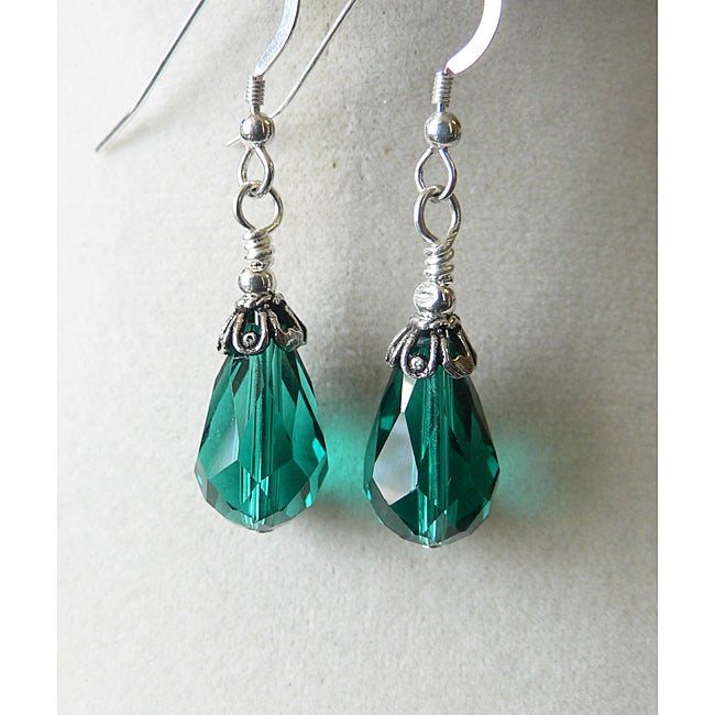 'Evangeline' Teal Glass Teardrop Earrings