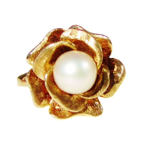 14k Yellow Gold South Sea Pearl Rose Ring