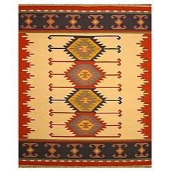 Handmade Keysari Kilim Ivory Wool Rug (8'3 x 10')