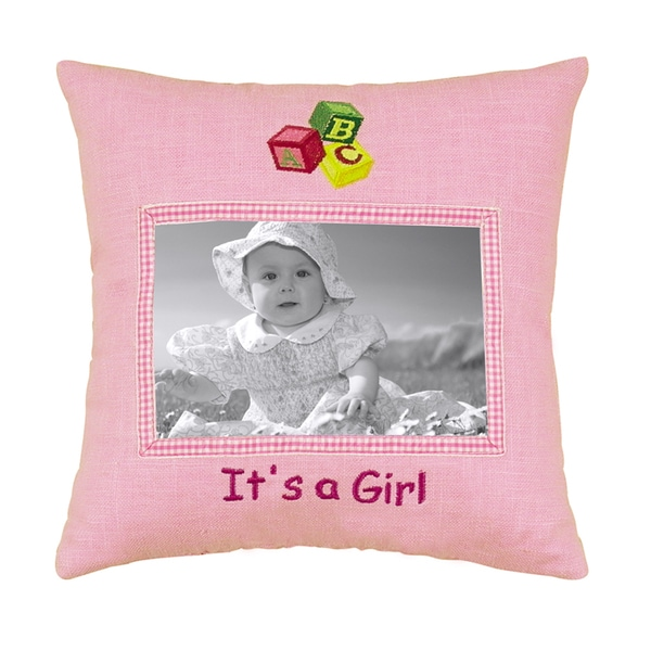 "'It's a Girl' Picture Pillow (10"" x 10"")"
