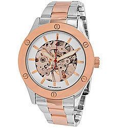 Breda Women's 'Addison' Mechanical See-Through Watch with Rose-Tone Accents