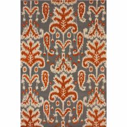 nuLOOM Handmade Modern Ikat Grey Wool Rug (7'6 x 9'6)