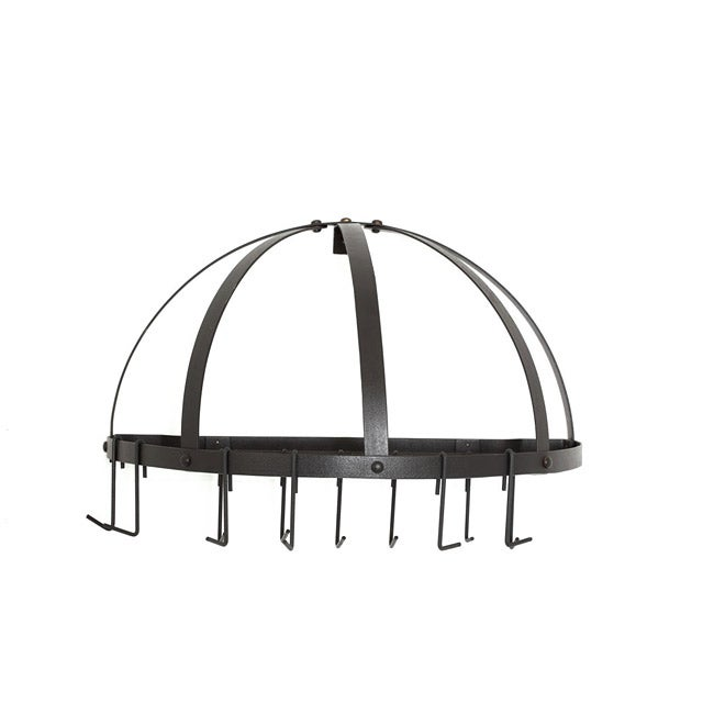 Old Dutch Half-round Wall Mounted Oiled Bronze Pot Rack