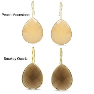 M by Miadora Gold Overlay 45ct TGW Synthetic Peach Moonstone Dangle Earrings