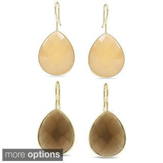 Miadora Gold Overlay 45ct TGW Synthetic Peach Moonstone Dangle Earrings