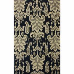nuLOOM Handmade Modern Ikat Navy Wool Rug (7'6 x 9'6)