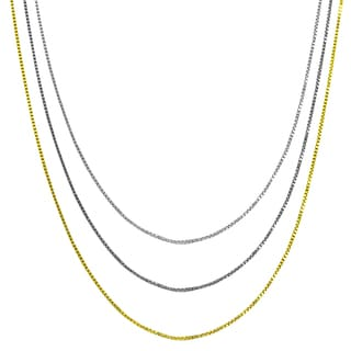 High-polish Sterling Silver, Rhodium, or Yellow Gold Plated 0.8 mm Venetian Box Chain (16