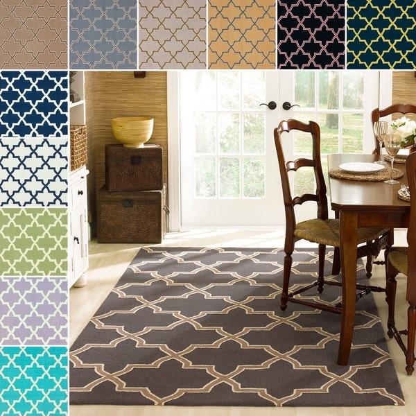 nuLOOM Handmade Alexa Moroccan Trellis Wool Rug (7'6 x 9'6)
