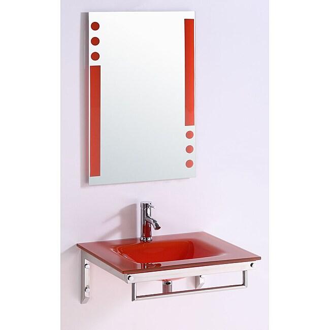 Tempered GlassTop 24-inch Single Sink Bathroom Vanity with Mirror