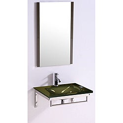 Tempered GlassTop 24-inch Single Sink Bathroom Vanity with Mirror