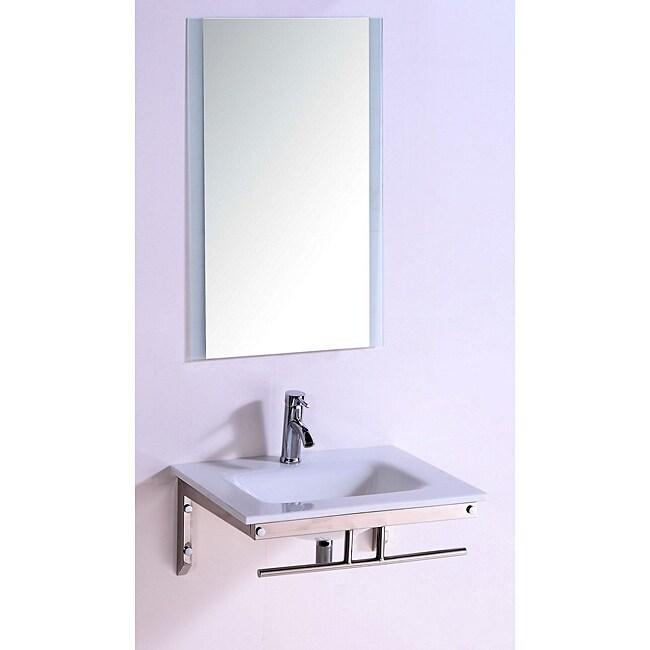 Stone Top 24-inch Single Sink Bathroom Vanity with Mirror