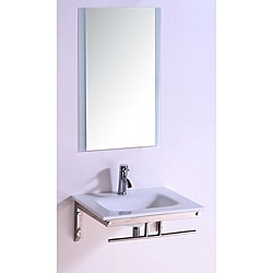 Stone Top 24-inch Single Sink Bathroom Vanity with Mirror