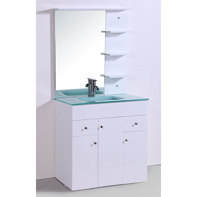 Glass Top 30 inch Single Sink Bathroom Vanity with Mirror and Faucet