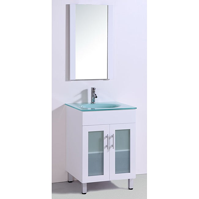Tempered Glass Top 24-inch Single Sink Bathroom Vanity with Mirror