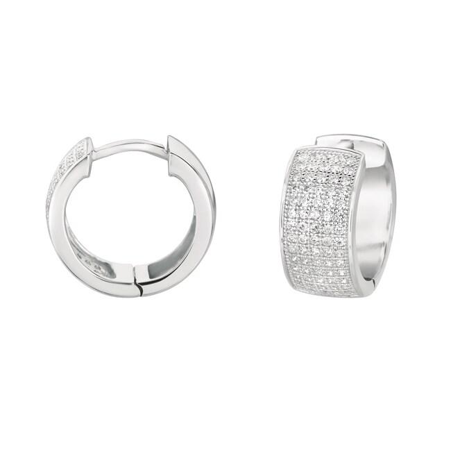 Sterling Silver Clear Cubic Zirconia Cuff Hoop Earrings