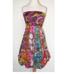 Women's Multi-patterned Cotton Elastic Top Sleeveless Bubble-hem Dress (Nepal)