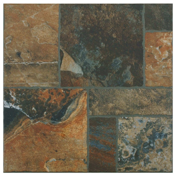 SomerTile 13.5x13.5-inch Eventide Red Porcelain Floor and Wall Tiles (Set of 11)