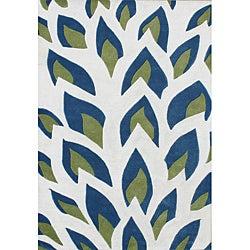 Handmade Flame Inspiration Twilight Blue Wool Rug (5' x 8')