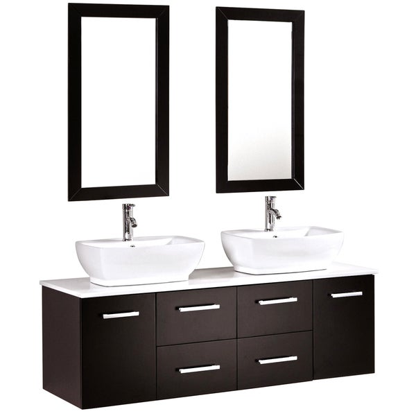 Kokals 60-inch Double Vanity Wall Mount Cabinet with Mirror and Faucets