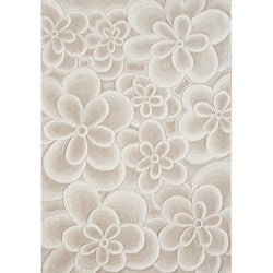 Handmade Flowers Bleach Tan Wool Area Rug (9' x 12')