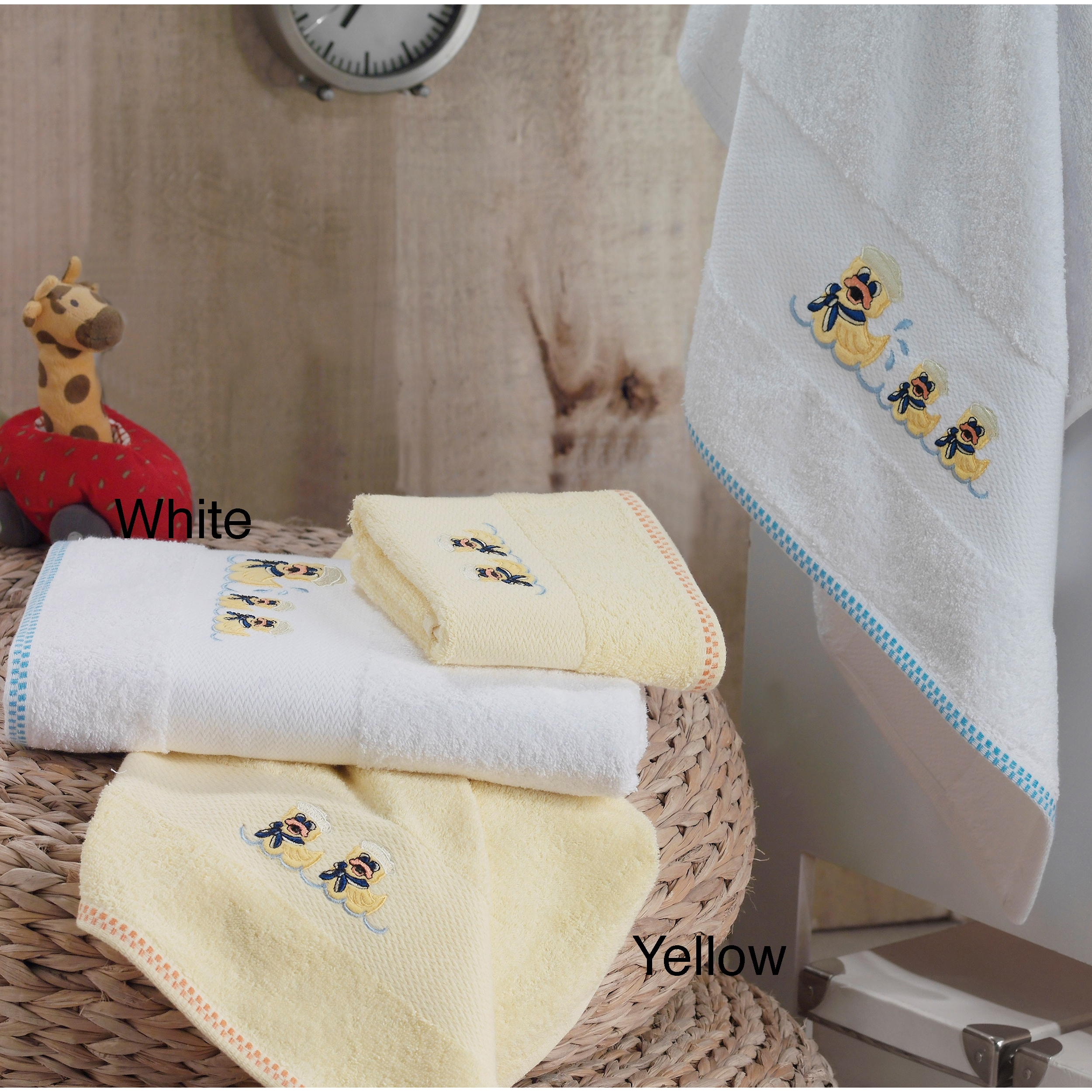 Lucia Minelli Kid's Yellow/White Embroidered Duck Turkish Cotton 4-pieceTowel Set