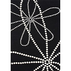 Hand-tufted Floridly Black Wool Rug (5' x 8')