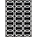 Hand-Tufted Floridly Black Geometric Wool Rug (5' x 8')