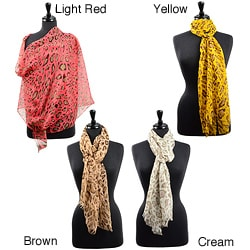 LA77 Women's Sheer Cheetah Print Scarf