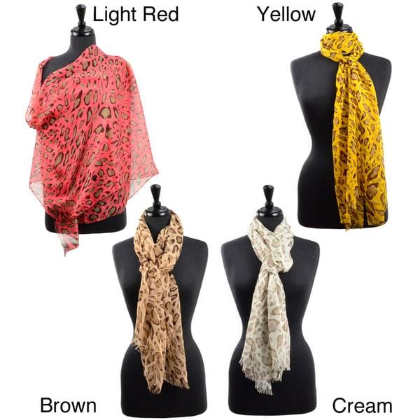 LA77 Women's Sheer Cheetah Print Scarf