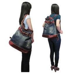 Amerileather 'Damian' Denim And Leather Shoulder Bag 115