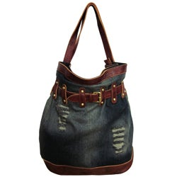 Amerileather 'Damian' Denim and Leather Shoulder Bag