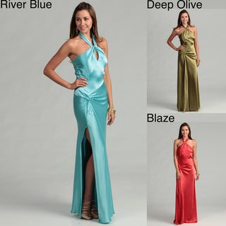 Issue New York Women's Keyhole Halter Evening Gown
