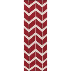 Hand-woven Jill Rosenwald 'Faller' Red Wool Rug (2'6 x 8')